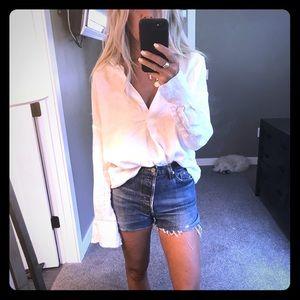 Zara white linen collared tunic xs
